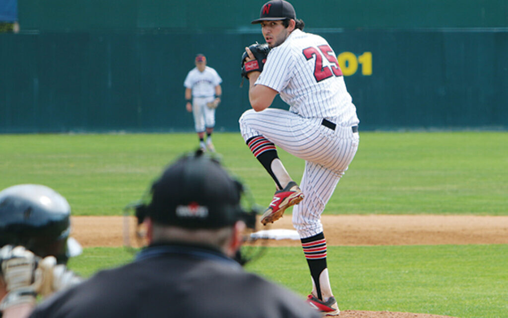 Sammy Elias pitches for his college team at Wesleyan. (Courtesy of Elias/ via the Jewish Standard)