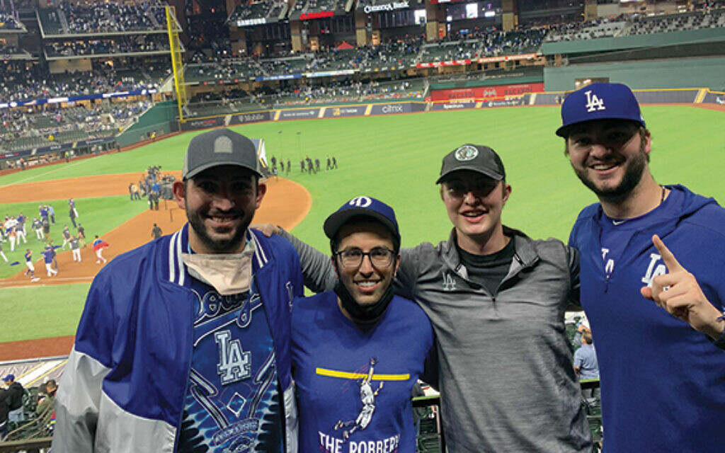 From left; Sammy Elias, Ethan Levitt, Craig Weinhaus, and Pat O'shea are all in the Dodgers' baseball operations department. (Courtesy of Elias/ via the Jewish Standard)