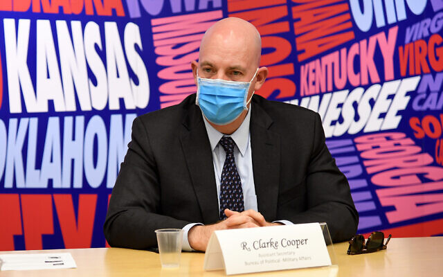 US Assistant Secretary for Political-Military Affairs R. Clarke Cooper  during a visit to Jerusalem, November 23, 2020. (David Azagury/ US Embassy Jerusalem)