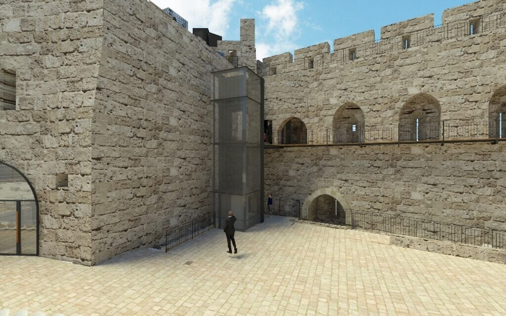 Artist's rendering of a new elevator at Jerusalem's Tower of David Museum. (courtesy Kimmel Eshkolot Architects)