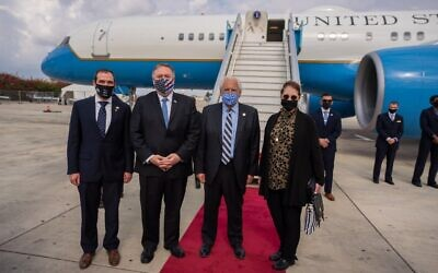 (From R-L) Susan Pompeeo, US Ambassador to Israel David Friedman, Secretary of State Mike Pompeo and aide Aryeh Lightstone at Ben Gurion Airport, Lod, on November 20, 2020. (State Department/Twitter)