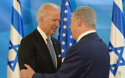 Prime Minister Benjamin Netanyahu, right, meets with then US vice president Joe Biden at the Prime Minister's Office in Jerusalem, on March 9, 2016. (Amos Ben Gershom/GPO)