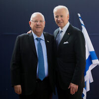 President Reuven Rivlin, left, with then US Vice President Joe Biden at the President's residence in Jerusalem on March 9, 2016. (Yonatan Sindel/Flash90)