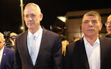 Benny Gantz (left) and Gabi Ashkenazi of the Blue and White party arrive to give a joint a statement in Tel Aviv on February 21, 2019. (Noam Revkin Fenton/Flash90)