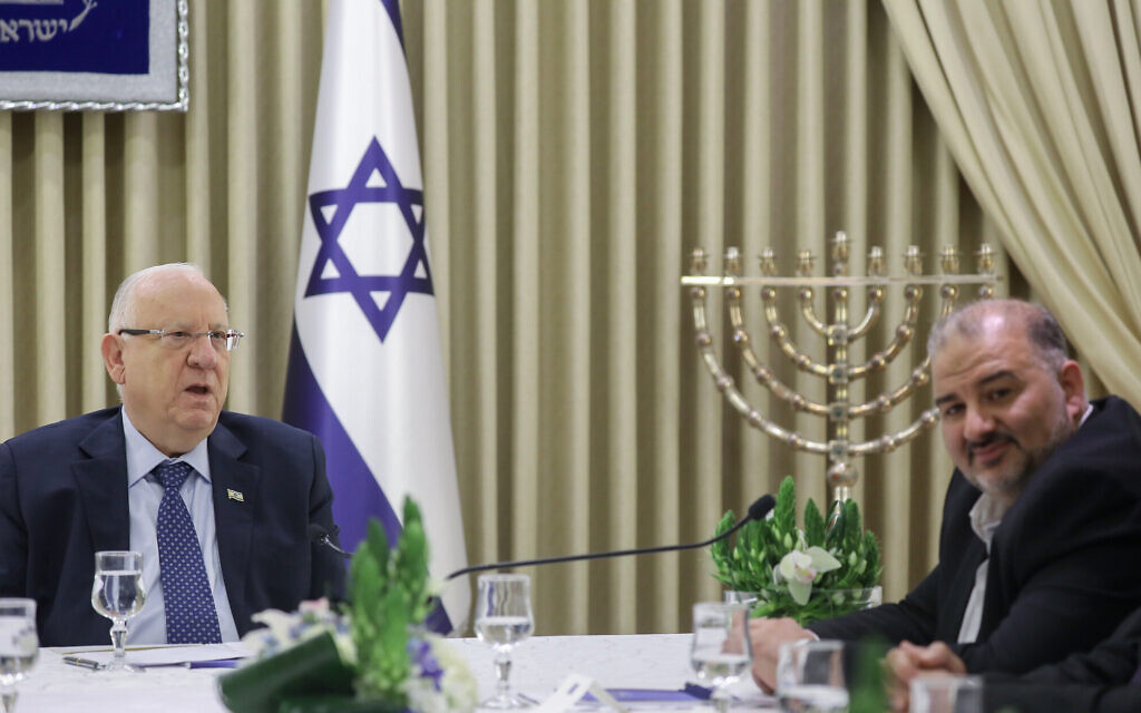 MK Mansour Abbas of the Ra'am faction meets with President Reuven Rivlin at the President's Residence in Jerusalem on April 16, 2019, as Rivlin begins consulting political leaders to decide who to task with trying to form a new government after the results of the general election were announced. (Noam Revkin Fenton/Flash90)