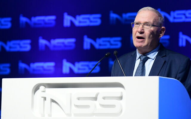 Director General of the National Security Studies (INSS) Amos Yadlin speaks at the Annual International Conference of the Institute for National Security Studies, in Tel Aviv, on January 29, 2020. (Tomer Neuberg/ Flash90)