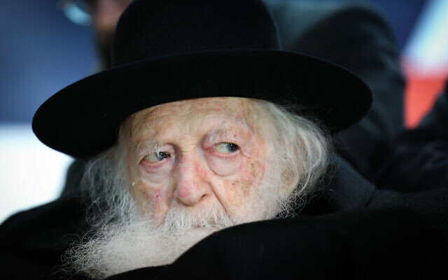 Rabbi Chaim Kanievsky attends a campaign event for the ultra-Orthodox Degel HaTorah party in the northern city of Safed on February 26, 2020. (David Cohen/Flash90)