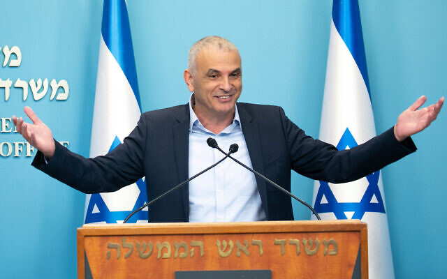 Then-finance minister Moshe Kahlon holds a press conference at the Prime Ministers Office, in Jerusalem on March 12, 2020. (Fitoussi/Flash90)