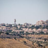 View of neighborhoods in the Israeli settlement of Ma'ale Adumim, near Jerusalem, on June 28, 2020. (Yonatan Sindel/Flash90)