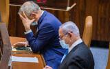 Defense Minister Benny Gantz, left, and Prime Minister Benjamin Netanyahu seen during a vote at the Knesset, in Jerusalem on August 24, 2020. (Oren Ben Hakoon/Flash90)