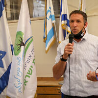 MK Matan Kahana speaks during a visit to the Oz Vegaon nature reserve in Gush Etzion, on October 22, 2020 (Gershon Elinson/Flash90)