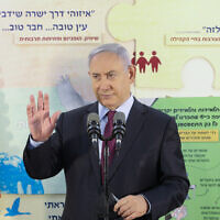 Prime Minister Benjamin Netanyahu visits visiting the Tali Bayit Vegan elementary school  in Jerusalem, on September 5, 2020. (Marc Israel Sellem/POOL/Flash90)