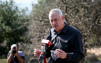Defense Minister Benny Gantz seen during a visit on the Israel-Lebanon border, northern Israel, on November 17, 2020. (David Cohen/Flash90)