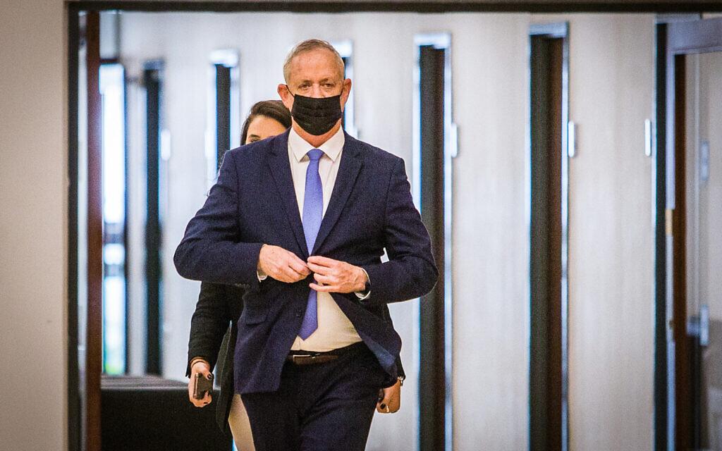 Defense Minister Benny Gantz seen in the Knesset on November 10, 2020. (Oren Ben Hakoon/POOL/Flash90)