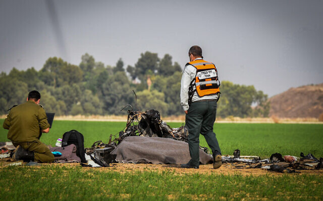 The site of a plane crash in which two Israeli soldiers were killed near the Bedouin city of Rahat on November 24, 2020. (Dudu Greenspan/Flash90)