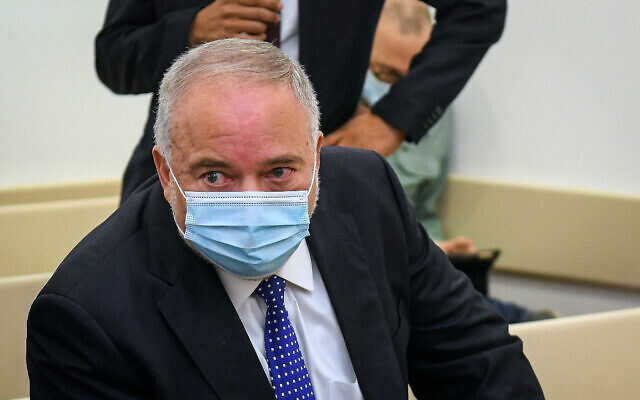 Yisrael Beytenu leader MK Avigdor Liberman in court for a lawsuit filed against a journalist, at the Magistrate's Court in Petah Tikva, November 24, 2020. (Flash90)