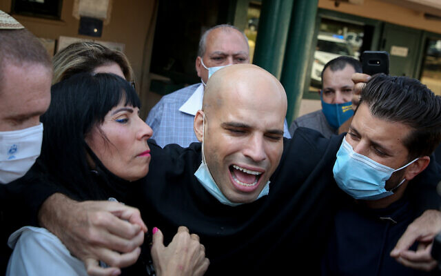 Nati Hadad, who was sentenced in 2018 to four years in prison in Thailand and later was extradited to Israel, is seen after his release from the Hermon Prison, November 29, 2020 (David Cohen/Flash90)