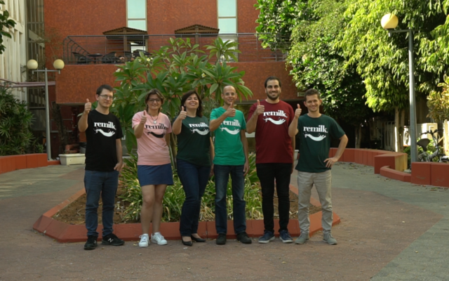 The Remilk team -- co-founder Ori Cohavi is in the middle with the light green T-shirt; Aviv Wolff, is the first on the right (Courtesy)