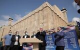 Hebron spokesman Yishai Fleisher, right, and Marc Zell, the head of Republicans Overseas Israel, blow shofars to show their support for Trump November, 2, 2020. (Courtesy Har Hevron regional council spokesperson)