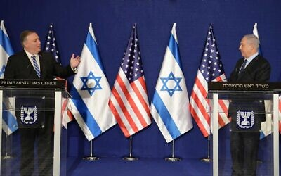Prime Minister Benjamin Netanyahu and US Secretary of State Mike Pompeo deliver statements to the press at the Prime Minister's Office in Jerusalem on November 19, 2020 (Amos Ben Gershom/GPO)