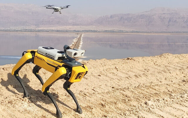 Percepto, an Israeli maker of drones, is creating a fleet of fully autonomous robots and drones to monitor industrial sites by teaming up with US robot maker Boston Dynamics (Courtesy)