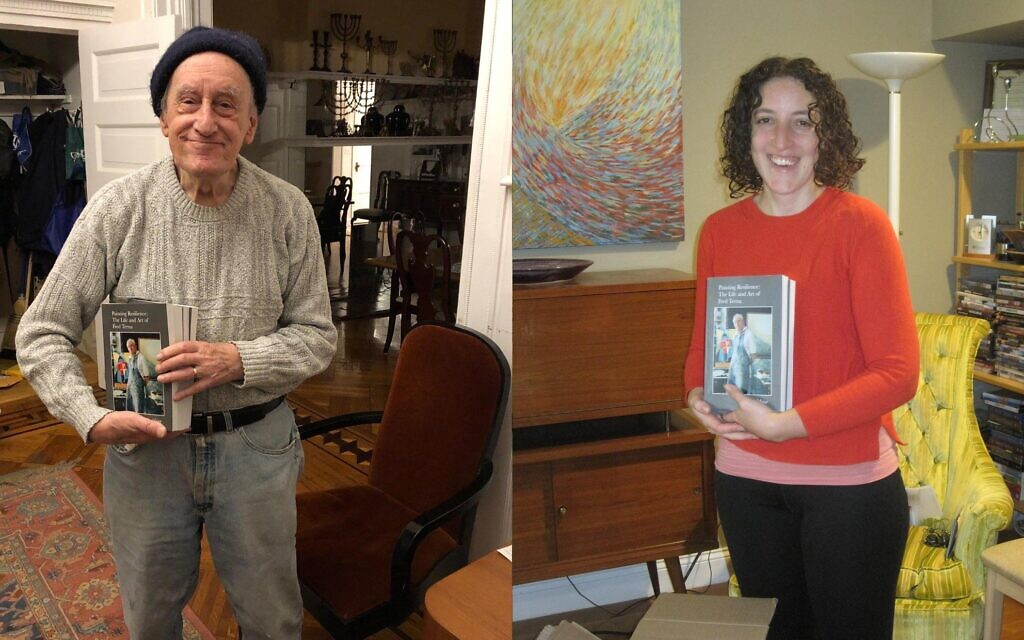 Artist and Holocaust survivor Fred Terna (left) and Julia Mayer, who spent hours with her family friend, in order to write 'Painting Resilience: The Life and Art of Fred Terna,' which was launched November 16, 2020 (Courtesy Julia Mayer)
