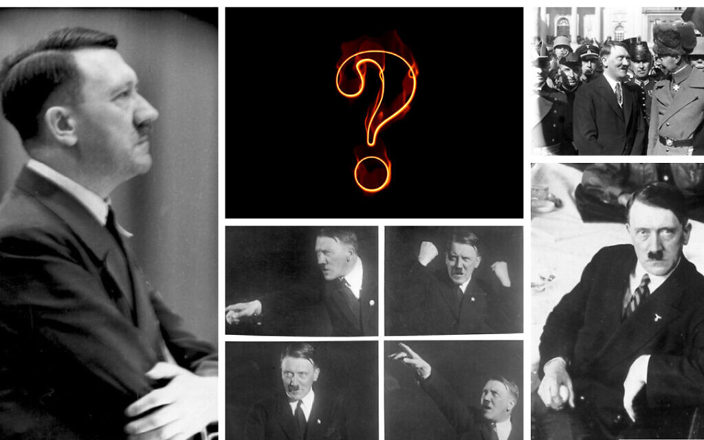 Photos of Hitler CC-SA-3.0/Budesarchiv Bild. (Collage by The Times of Israel)