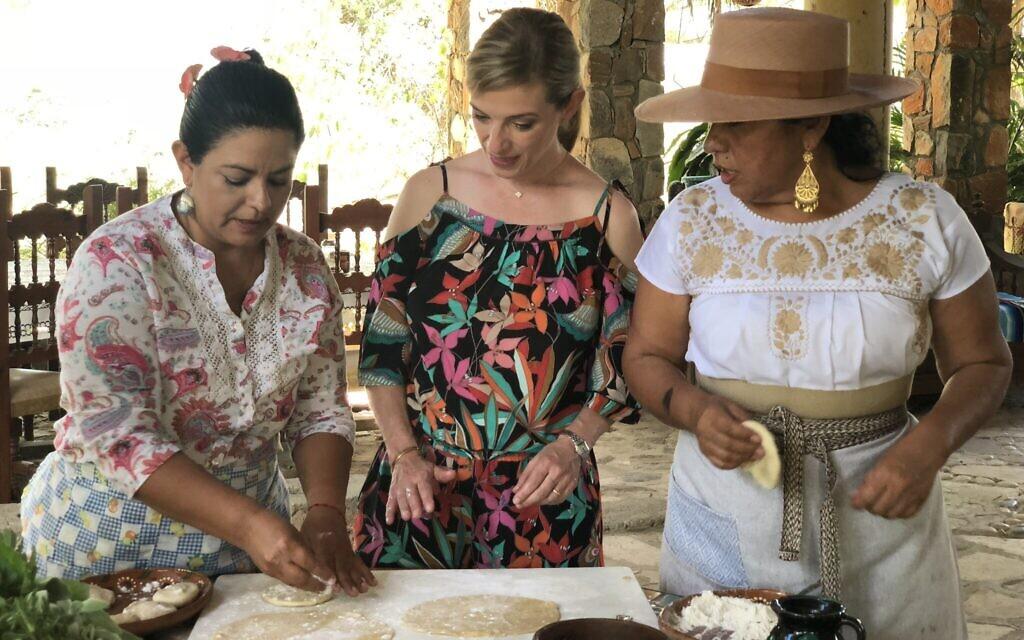 Celebrity chef Pati Jinich examining masa cornmeal dough in Miraflores, Baja California Sur. (Courtesy Jinich)