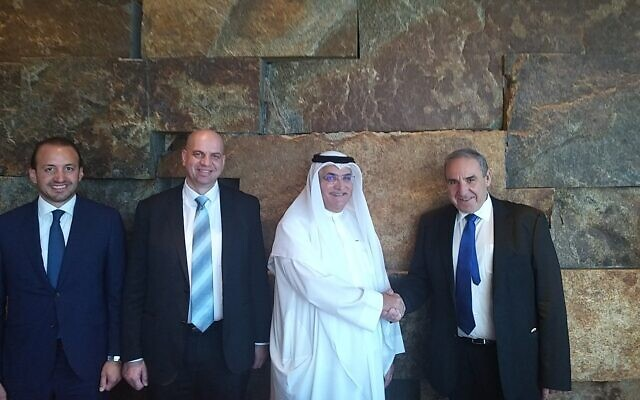 Moshe Kaplinsky, CEO of Oil Refineries,  right to left, Abdullah Mazrui, Chairman of Mazrui International, Mark Hana, Oil Refineries VP for Sales, Marketing, Purchasing & Contracts and CEO of the Mazrui Group, Charbel Khoury (Courtesy)