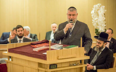 Rabbi Pinchas Goldschmidt speaks at a synagogue in Monaco on November 23, 2017. (Courtesy of the Conference of European Rabbis via JTA)