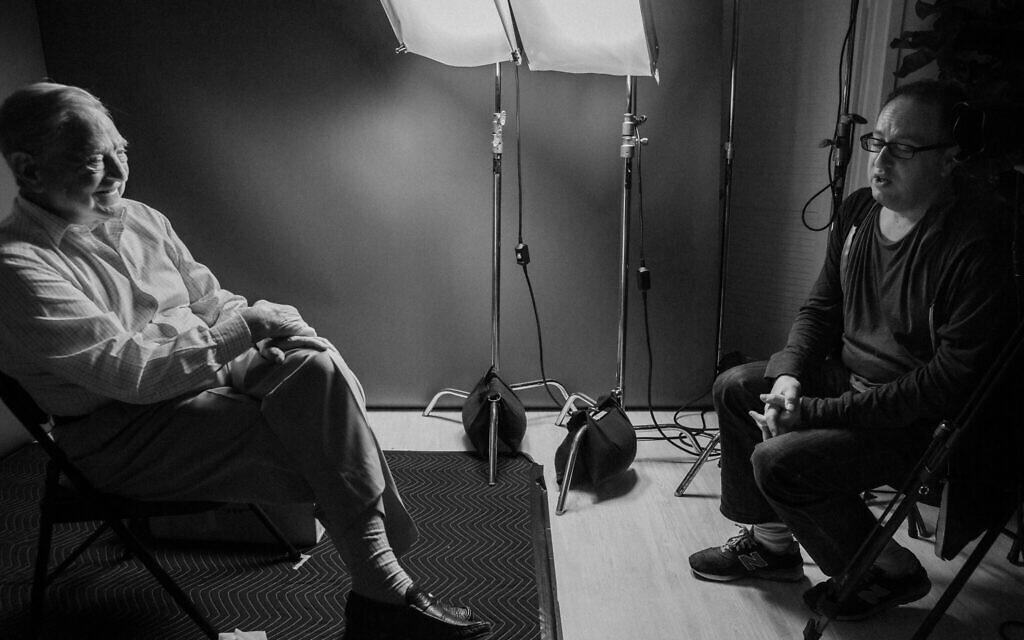George Soros, left, with filmmaker Jesse Dylan for the film 'Soros.' (Courtesy Vital Pictures)