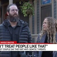 Nick and Tiffany Kinney speak to a local TV station about the incident, which is being investigated as a hate crime. (Screenshot/JTA)