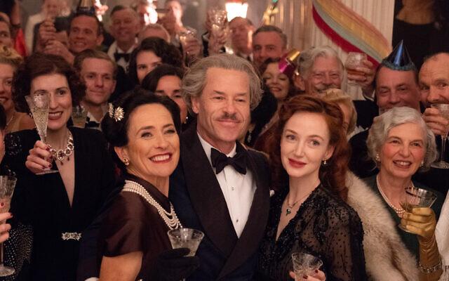 Susannah Doyle as Johanna, Guy Pearce as Han Van Meegeren, Olivia Grant as Cootje Henning in 'The Last Vermeer.' (Courtesy TriStar Pictures)