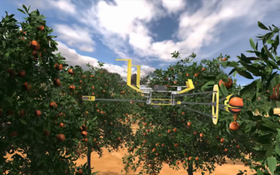 Tevel has developed an autonomous driving platform with several tethered robots that fly up and pluck fruit from the trees (Tevel)