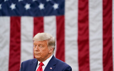 US President Donald Trump at an event on Operation Warp Speed in the Rose Garden of the White House in Washington, Nov. 13, 2020. (AP Photo/Evan Vucci)