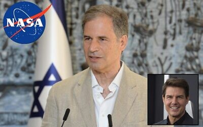Eytan Stibbe, set to become Israel's second astronaut in space, speaks at the president's residence on November 16, 2020; inset: Tom Cruise (GPO/AP)