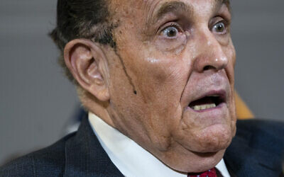 Trump lawyer Rudy Giuliani speaks to the press about various lawsuits related to the 2020 election, inside the Republican National Committee headquarters in Washington, November 19, 2020. (Drew Angerer/Getty Images/AFP)