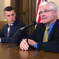 Michigan Senate Majority Leader Mike Shirkey, right, and House Speaker Lee Chatfield,left, speak at the Michigan Capitol in Lansing, Michigan, Jan. 30, 2020. (AP Photo/David Eggert, File)