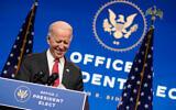 US President-elect Joe Biden, accompanied by Vice President-elect Kamala Harris, speaks at The Queen theater in Wilmington, Delaware, Nov. 19, 2020. (AP Photo/Andrew Harnik)