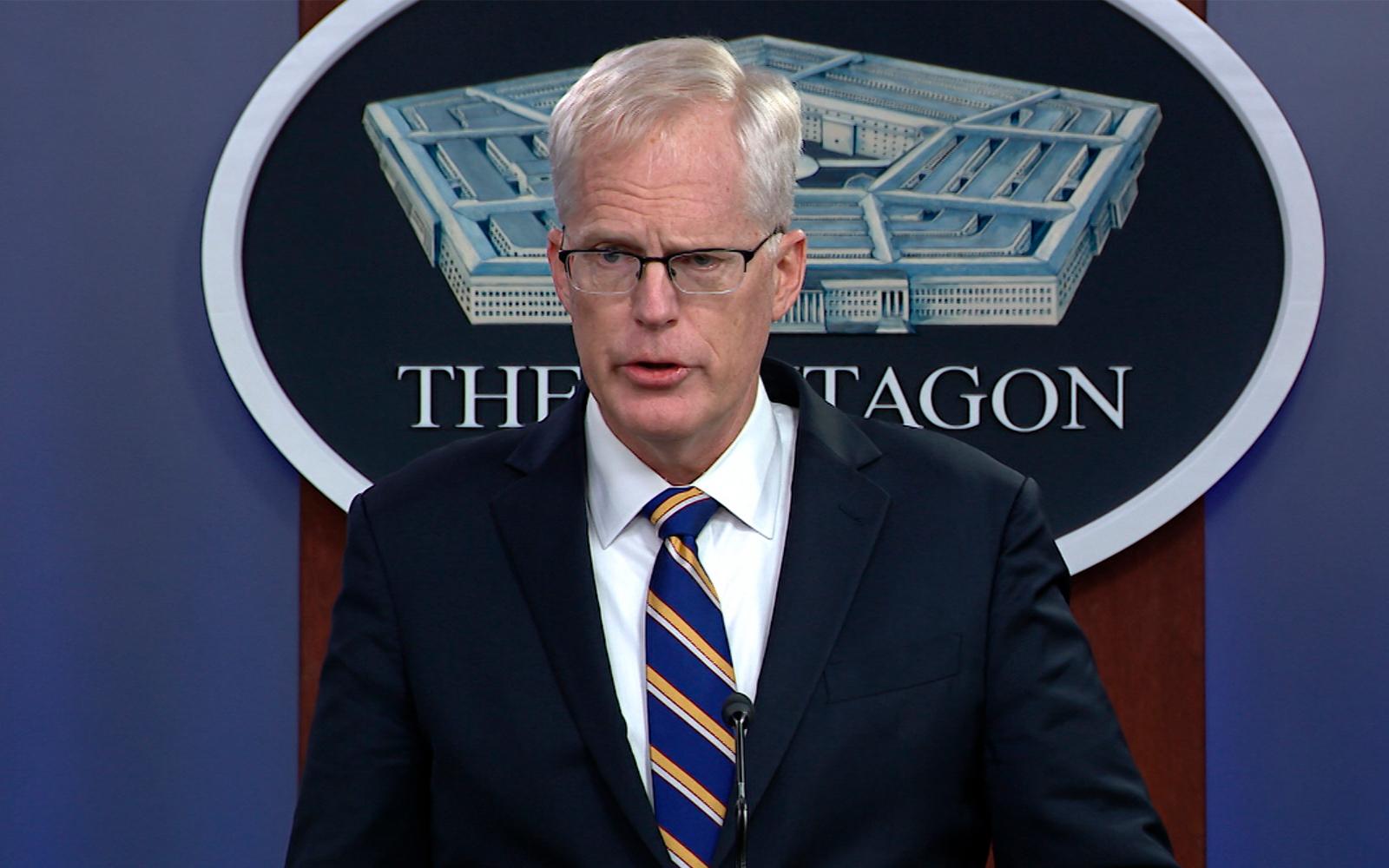 Acting US Defense Secretary Christopher Miller speaks at the Pentagon in Washington