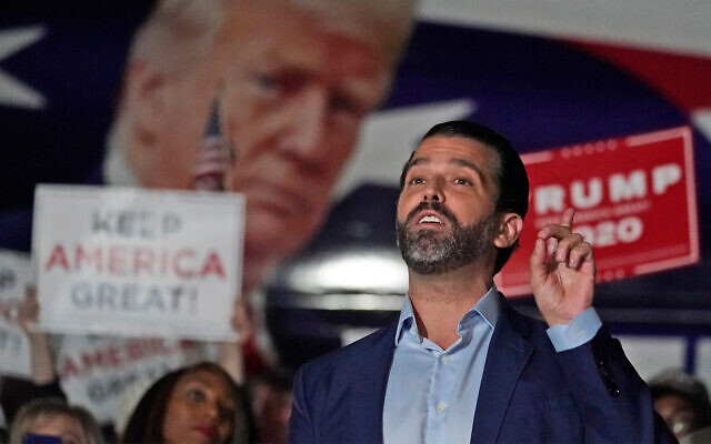 Donald Trump Jr. during a news conference at the Georgia Republican Party headquarters in Atlanta, Nov. 5, 2020. (AP Photo/John Bazemore, File)