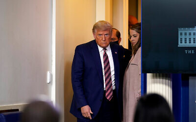 US President Donald Trump arrives to speak at a news conference in the briefing room at the White House in Washington, Nov. 20, 2020. (AP Photo/Susan Walsh)