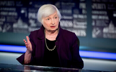 Former Fed Chair Janet Yellen speaks with the FOX Business Network in the Fox Washington bureau, Aug. 14, 2019. (AP Photo/Andrew Harnik, File)