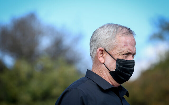 Defense Minister Benny Gantz, during a visit to the Israel-Lebanon border, on November 17, 2020. (David Cohen/Flash90)