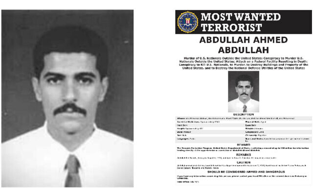 Abdullah Ahmed Abdullah, also known as Abu Muhammad al-Masri, in an FBI post offering a reward for information on his whereabouts. (Screenshot/fbi.gov)
