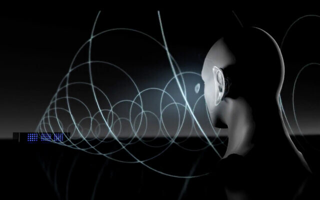 Illustrative image of Noveto Systems' SoundBeamer technology, which beams audio straight to your head, without the need for headphones. (Screenshot/Noveto Systems)