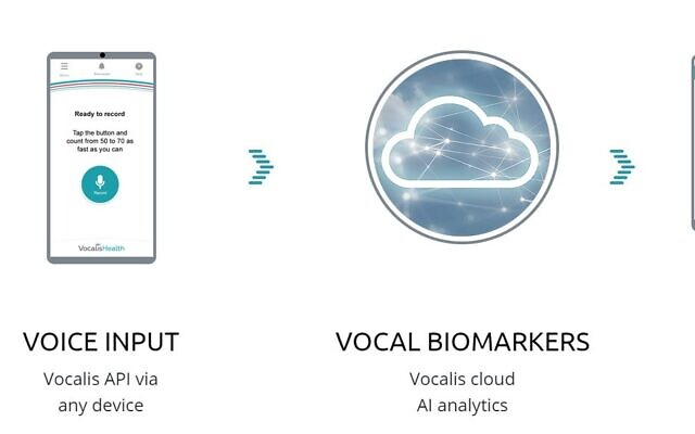 An illustration of the software developed by Vocalis Health, to identify vocal biomarkers to detect illnesses (Courtesy)