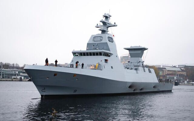 The Sa'ar 6-class corvette INS Magen is handed over to the Israeli Navy in a ceremony in Germany on November 11, 2020. (Israel Defense Forces)