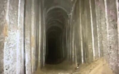 A tunnel that Israel believes was dug by the Hamas terror group from Gaza into southern Israel, which was uncovered on October 22, 2020. (Israel Defense Forces)