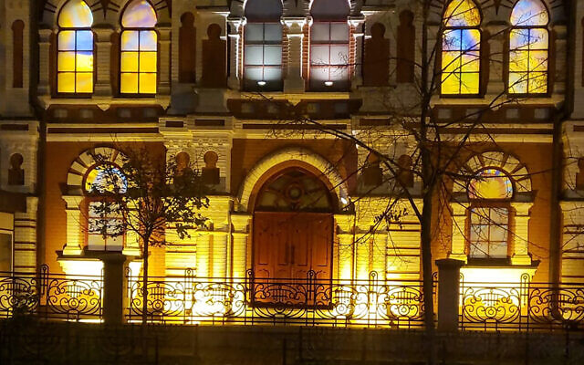 The glass-stained windows glow at the Great Choral Synagogue in Kyiv, Ukraine, November 9, 2020. (Courtesy of Rabbi Yaakov Dov Bleich via JTA)